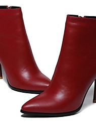 Women's Boots Leather Fall Winter Outdoor Stiletto Heel Black Ruby 2in-2 3/4in