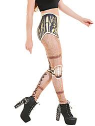 Feminino Legging Estampada Poliéster Feminino
