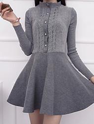 Women's Going out Simple A Line DressSolid Stand Above Knee Long Sleeve Gray Micro-elastic Medium
