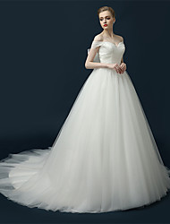 Princess Wedding Dress Chapel Train V-neck Satin / Tulle with Ruche / Sash / Ribbon