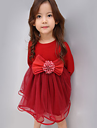 Girl's Casual/Daily Solid Dress,Others Spring / Fall Pink / Red
