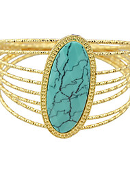 Gold Color Big Imitation Turquoise Statement Bracelet