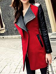 Women's Patchwork/Color Block Lapel Trench Coat , Casual/Work Long Sleeve Tweed/PU