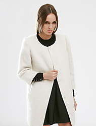 C+IMPRESS Women's Going out Simple CoatSolid Round Neck Long Sleeve Winter White Wool Medium