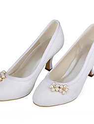 Women's Heels Spring /Round Toe Stretch Satin Wedding / Party & Evening Stiletto Heel Crystal / Pearl White Others