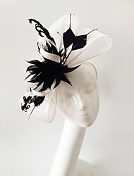 Kentucky Derby Church Races Black And White Flax Wedding Event Fascinator