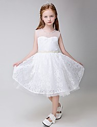 Ball Gown Knee-length Flower Girl Dress - Lace Sleeveless Jewel with Beading