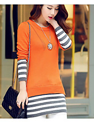Women's Going out / Casual/Daily Simple / Cute Long PulloverStriped White Round Neck Long Sleeve