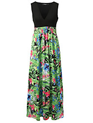 Women's Chiffon DressFloral V Neck Maxi Sleeveless Red / Black / Green Modal / Polyester Summer / FallHigh