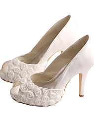 Women's Heels Spring /  Peep Toe / Platform Stretch Satin Wedding /  Dress Stiletto Heel Flower Ivory