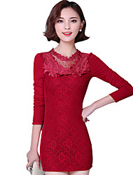Fall Winter Women's Casual/Going out Plus Size Plus Velvet Dresses Solid Lace Round Neck Long Sleeve Pack Hip Dress