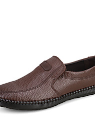 Men's Loafers & Slip-Ons Spring / Fall Comfort Cowhide Casual Flat Heel Slip-on Black / Brown Sneaker