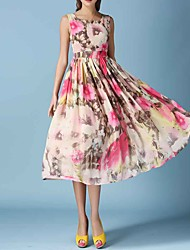 Women's Casual/Daily Boho Loose DressFloral Round Neck Midi Sleeveless Pink Silk / Polyester Summer Mid Rise Inelastic