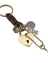 Man Retro Leather Key Ring Alloy Key Pendant Punk Leather Key Chain