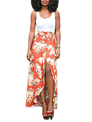 Women's Party/Cocktail Street chic Summer / Fall Tank Top Skirt Suits,Floral U Neck Sleeveless White / Orange Polyester Opaque