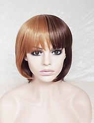 косплей парик коричневый цвет смеси бобо парик европы и Соединенные Штаты с аккуратным мс парик взрыва 10 дюймов