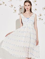 j&les femmes d de sortir mignon blanc polyester été grande hauteur moyenne inélastique ligne dressprint v cou midi sans manches