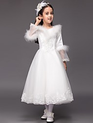 Ball Gown Tea-length Flower Girl Dress - Satin Tulle V-neck with Appliques Ruffles