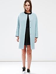 c + impressionar as mulheres está saindo do inverno manga longa médio coatsolid simples de lã azul em torno do pescoço