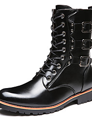Men's Boots Winter Combat Boots Cowhide Casual Flat Heel Lace-up Black Others