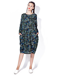 Women's Going out / Casual/Daily Vintage / Boho Loose DressFloral Round Neck Midi Long Sleeve Blue / Green Cotton