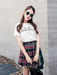 Women's Going out Simple Summer Set SkirtPlaid Round Neck