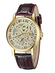 Masculino Relógio de Moda relógio mecânico Mecânico - de dar corda manualmente / Couro Banda Casual Preta Dourado Prata