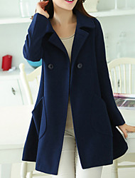 Women's Cute Coat,Solid Shirt Collar Long Sleeve Fall Blue / Red / Yellow Wool / Others Thick
