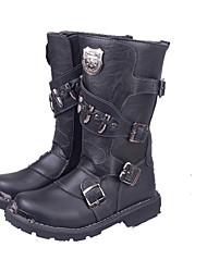 Men's Boots Fall / Winter Riding Boots / Work & Safety Cowhide Outdoor Flat Heel Rivet / Zipper  Cycling / Walking