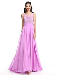 2017 Lanting vestido de dama de honra bride® - uma linha de colher chiffon até o chão com apliques