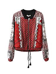 Veste Aux femmes,Imprimé Décontracté / Quotidien simple Automne Manches Longues Col Ras du Cou Rouge Coton Moyen