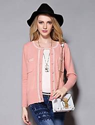 Sybel Frauen Casual / Tages einfache kurze cardigansolid pink rund