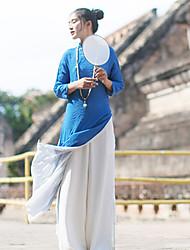 Ample Robe Femme Sortie simple / Chinoiserie,Couleur Pleine Col en V Mi-long Manches Longues Bleu / Blanc Lin Printemps Taille NormaleNon
