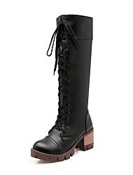 Damen-Stiefel-Kleid Lässig Party & Festivität-Kunstleder-Blockabsatz-Schneestiefel Gladiator Pumps Reitstiefel Modische Stiefel Komfort