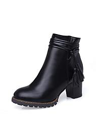Feminino-Botas-Saltos / Plataforma / Botas de Neve / Botas Cano Curto / Arrendondado / Botas Montaria / Botas da Moda / Botas de