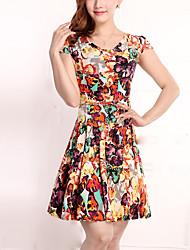 Brand Fashion Women's Vintage / Street chic Floral Plus Size / Sheath Dress,Round Neck Above Knee Cotton / Polyester