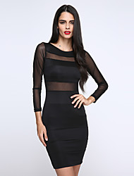 Best Design Dress for Women With Black and White Two Colors Summer Dress 2015 O-neck Full Sleeve Casual Dress