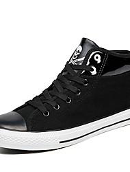 Running Shoes Men's Fashion Casual Shoes EU39-44 Hight-top Microfiber Board Flats Shoes Black