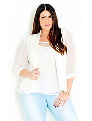 Women's Plus Size Street chic Spring / Summer Jackets,Solid Notch Lapel ¾ Sleeve