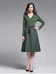 MISS FRENCH  Going out Simple Sheath DressSolid Shirt Collar Knee-length Long Sleeve Green Cotton Spring