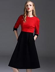 Damen Hülle Kleid-Arbeit Einfach Einfarbig Rundhalsausschnitt Knielang ¾-Arm Rot Baumwolle / Polyester / Elasthan Frühling Hohe Hüfthöhe