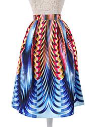 Damen Röcke,A-Linie GeometrischAusgehen / Urlaub Vintage Midi Polyester / Nylon Unelastisch