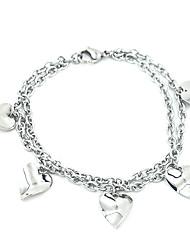 Bracelet Charmes pour Bracelets Acier au titane Forme de Coeur Amour Cœur Mode Soirée Quotidien Décontracté Sports Bijoux Cadeau Argent,
