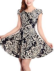 Feminino Bainha Vestido,Casual / Tamanhos Grandes Simples / Moda de Rua Estampado Decote Redondo Acima do Joelho Manga Curta Branco