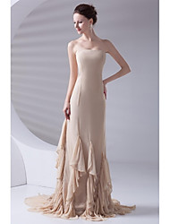 Formal Evening Dress Trumpet / Mermaid Strapless Court Train Chiffon with Tiers
