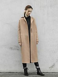 Damen Solide Einfach Ausgehen / Lässig/Alltäglich Mantel,Winter Mit Kapuze Langarm Braun Dick Wolle / Polyester