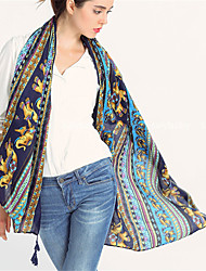 Women Vintage Casual Golden Elephant Printing Seaside Resort Beach Fringed Scarves Shawl