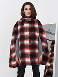 c + impressionner femmes sortir rue manteau chic et / capesplaid hiver sans manches à capuche rouge moyen laine / rayonne