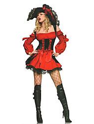Costumes de Cosplay / Costume de Soirée Pirate Fête / Célébration Déguisement Halloween Rouge / Noir Lace Robe / Chapeau Halloween Féminin