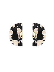 Fashion Women Turtle Shell Finish Fan Stud Earrings